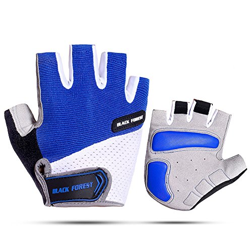 A Bike MTB Bicycle Cycling Glove Half Finger Gel Pad Breathable Summer Sports Motorcycle Riding Glove For Men Women (Blue, L)