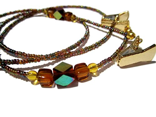 ATLanyards Rainbow Brown Beaded Eyeglass Holder, Beaded Eyeglass Chain With Gold Clips