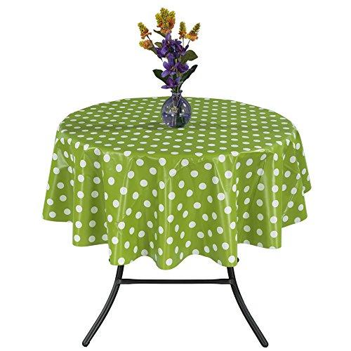 Ottomanson Vinyl Tablecloth Polka Dot Design Indoor & Outdoor Non-Woven Backing Tablecloth, 55