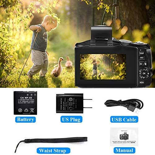 """Digital Camera, 2.7K 48MP Full HD Point and Shoot Camera with 3"""" LCD Screen, Portable Mini Compact YouTube Vlogging Blogging Camera for Beginners Students"""