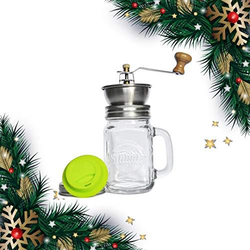 Coffee Mug with Ceramic Grinder with Silicone Drinking Lid - Amazing Manual Adjustable Coffee Grinder | Smith's Mason Jars