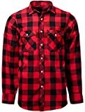 J.VER Men's Casual Shirts Flannel Plaid Shirt Long Sleeve Button Down Regular Fit Cotton - Color:Red&Black, Size:EU-XX-Large