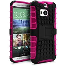 HTC One M8 Case, MagicMobile® Hybrid Armor Heavy Duty Shockproof Impact Resistant Dual Hard Black Plastic Layer and Hot Pink Flexible TPU Gel Skin Defender Cover with Kickstand [Compatible Only with HTC One M8]