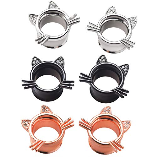 Longbeauty 2Pcs Silver Cute Kitten Ear Plugs Tunnels Gauges Stretcher Piercings in 3 Colors Gauge 2g