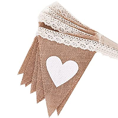 Ling's moment Hessian Burlap Pennant Bunting Banner Flags with Lace for Wedding, Party, Home Decoration, 12pcs, 8Ft, DIY Decor