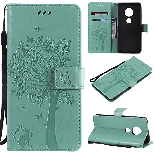Moto G7 Case,Moto G7 Plus Case,Wallet Case,PU Leather Case Floral Tree Cat Embossed Purse with Kickstand Flip Cover Card Holders Hand Strap for Motorola Moto G7/G7 Plus Teal