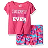PUMA Toddler Girls' Puma Tee and Short Set, Pink Glo, 4T