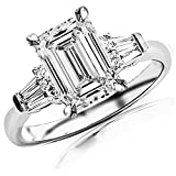 Image of 0.75 Cttw 14K White Gold Emerald Cut Prong Set Round And Baguette Diamond Engagement Ring with a 0.4 Carat H-I Color VS1-VS2 Clarity Center