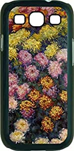 Claude Monet's Flower Bed- Case for the Samsung Galaxy S III-S3- Black Case with a Flip Cover