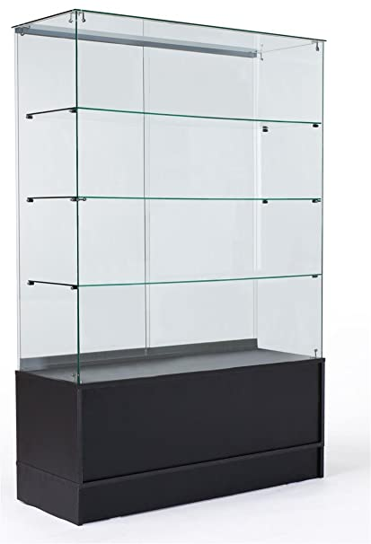 Amazon Com 48 Glass Display Cabinet With 3 Glass Shelves Separate Storage Area In Base Sliding Doors Black Kitchen Dining