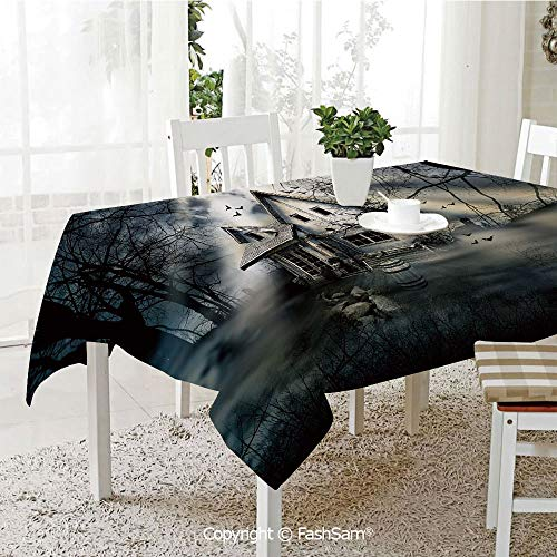AmaUncle Party Decorations Tablecloth Haunted House with Dark Horror Atmosphere Cloudy Mysterious Frightening Kitchen Rectangular Table Cover (W60 xL104) -