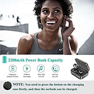 True Wireless Earbuds, Bluetooth Headphones Sweatproof Sports Earphones in-Ear HiFi 3D Stereo Sound Headsets with 50H Playtime Built-in Mic Bluetooth Earbuds with 2200 mAh Portable Charging Case from Yibaision