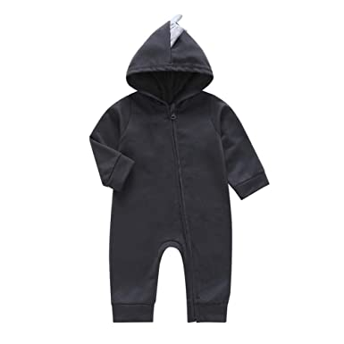 chinatera Baby Winter Rompers Infants Cartoon Slanted Zipper Hooded Jumpsuit Sports Daily Wear