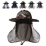 DR.ELK Summer Outdoor Sun Protection Fishing Cap Neck Face Flap Hat Wide Brim Shade Camouflage Hiking Hunting Boating Fishing Safari Military Army Garden man women (army green camouflage, One Size)