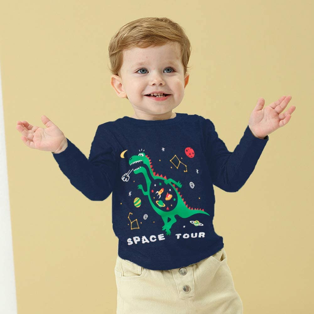 Little Hand Boys Sweatshirts Digger Print Jumper Kids Cute Cotton Pullover Long Sleeve Tops Toddler Tee Shirts for Age 1-7 Years