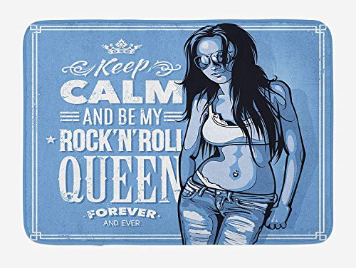 Teen Girls Bath Mat, Stylish Girl Image Keep Calm and Be My Rock'n'roll Queen Forever and Ever Typography, Plush Bathroom Decor Mat with Non Slip Backing, 23.6 W X 15.7 W Inches, Blue]()