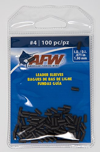 AFW American Fishing Wire Single Barrel Copper Crimp Sleeves Leader Size 4 - Leader Sleeves Barrel