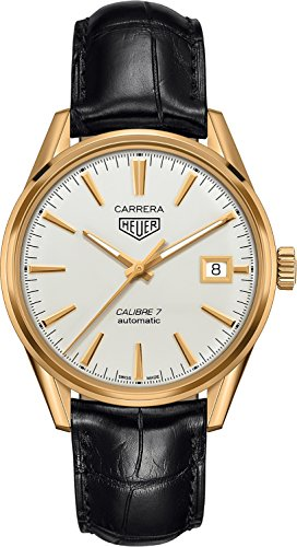 TAG Heuer Carrera Solid 18k Yellow Gold 39mm Men's Watch on Black Leather Strap (18k Solid Gold Mens Watch)