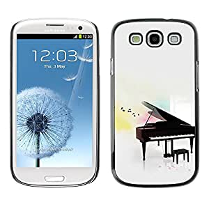 Paccase / SLIM PC / Aliminium Casa Carcasa Funda Case Cover para - Music Play Instrument Notes White - Samsung Galaxy S3 I9300