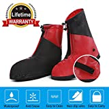 100% Waterproof Shoes Covers Travel Rain Boots Overshoes Galoshes Wellies Gumboots,Foldable Thicken Sole Overshoes Cycling Camping Fishing Garden Outdoors Women Men Kids (XXXL, Red & Black)