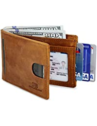 RFID Blocking Bifold Slim Genuine Leather Thin Minimalist Front Pocket Wallets for Men Billfold - Made From Full Grain Leather
