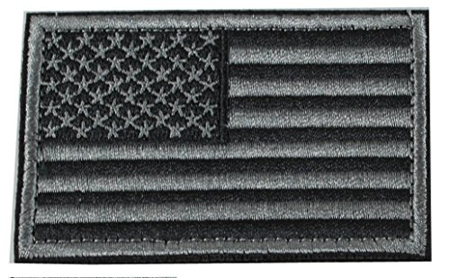 USA Tactical Morale Patch / American Flag Patch with Velcro (Stealth, 2