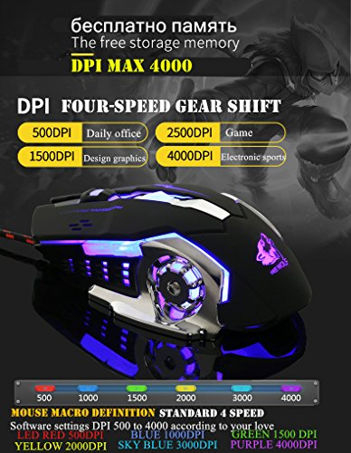 Photoelectric Accessory (Gaming mechanical Mouse Wired [4000 DPI] [Programmable] [Breathing Light] Ergonomic Game USB Computer Mice RGB Gamer Desktop Laptop PC Gaming Mouse photoelectric Mouse, 7 Buttons for Windows 7/8/10/XP)