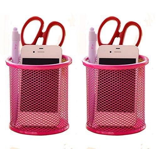 Elife 2 pcs Hot Pink Mesh Pen Pencil Collection Holder Sorter Desk ()