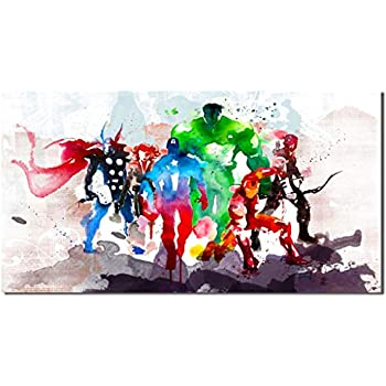 Picture Sensations Framed Canvas Art Print, Abstract Watercolor Marvel Avengers Super Hero Wall Canvas Art - 36
