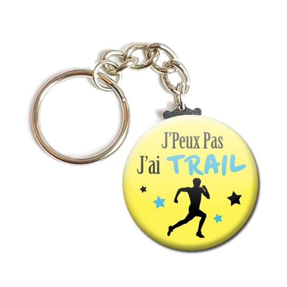 PORTE CLÉS Chaînette 3, 8 cm ✩ J'Peux Pas J'ai TRAIL ✩ (idée cadeau humour loisir hobby passion excuse) 8 cm ✩ J'Peux Pas J'ai TRAIL ✩ (idée cadeau humour loisir hobby passion excuse)