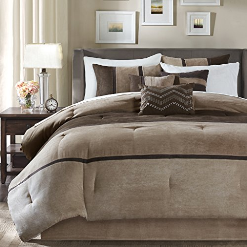 Madison Park Palisades Queen Size Bed Comforter Set Bed in A Bag - Brown, Taupe, Pieced Stripe - 7 Pieces Bedding Sets - Micro Suede Bedroom Comforters