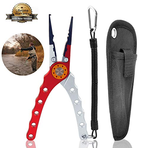 Aluminum Fishing Plier, Fishing Scissors with Lanyard and Sheath, Needle Nose Pliers Braid Cutter Hook Remover Split Ring Pliers Crimper Fish Gripper for Saltwater Freshwater Fishing (Red)