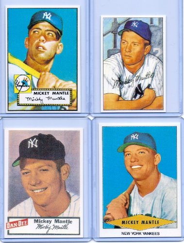 """MICKEY MANTLE 1952 TOPPS/BOWMAN ROOKIE CARD REPRINT """"4"""" C..."""