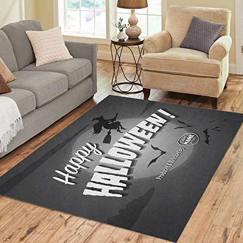 Pinbeam Area Rug Retro Movie Ending Screen Happy Halloween Vintage Witch Home Decor Floor Rug 2' x 3' Carpet -