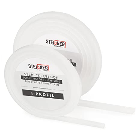 STEIGNER Burlete Espuma Autoadhesiva para Puertas y Ventanas Perfil I 5 x 9 mm, 6