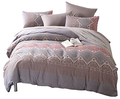 Colourful Snail 100-Percent Natural Washed Cotton Classical Pattern Duvet Cover Set, Antique Boho Bohemian Style, Ultra Soft and Easy Care, Fade Resistant, King by Colourful Snail