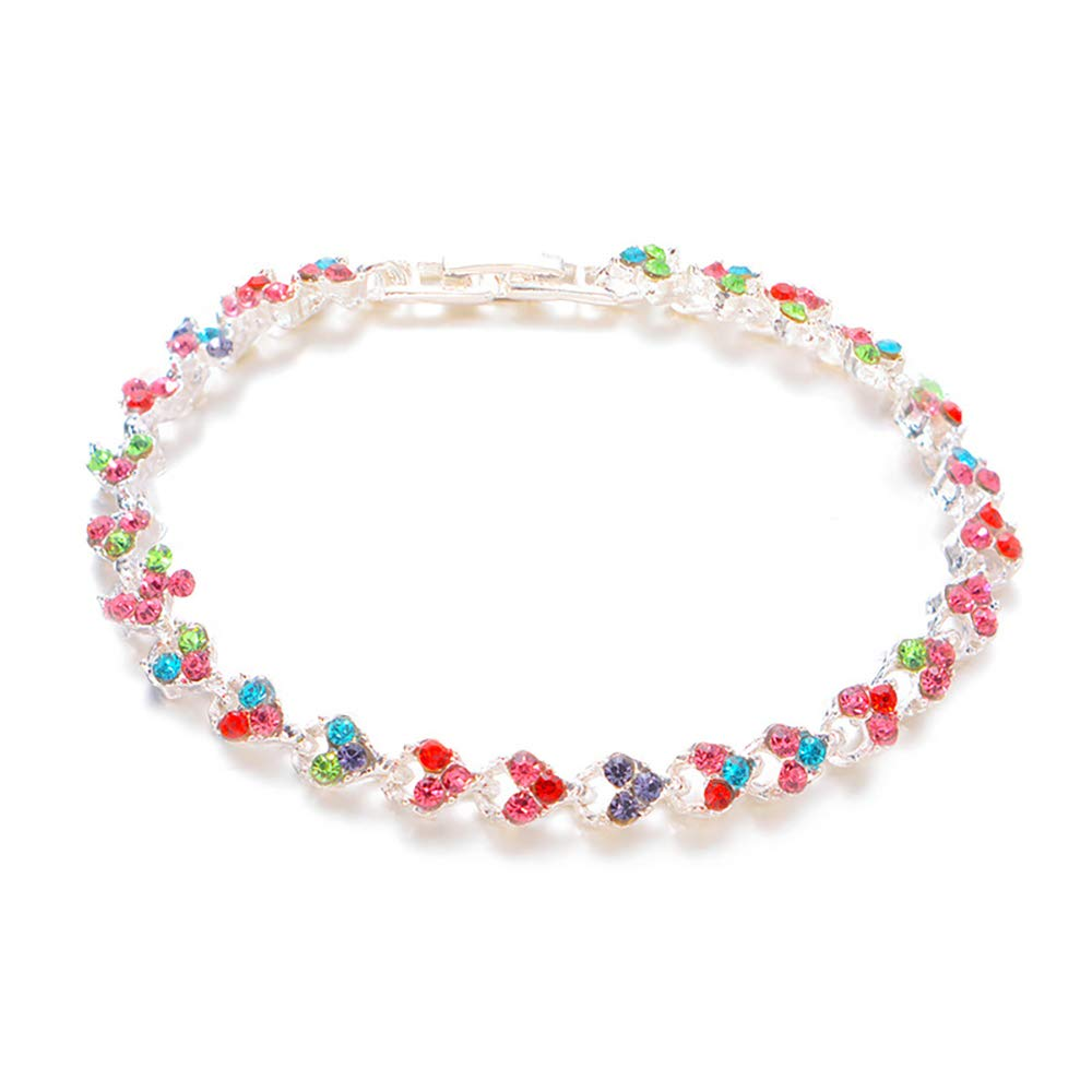 MIXIA Charm Full Paved Romantic Rhinestone Crystal Love Heart Tennis Chain Cuff Bracelet for Women Girls
