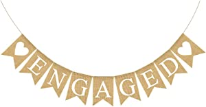 Engaged Banner Burlap Rustic Bunting Garland for Engaged Party Decorations