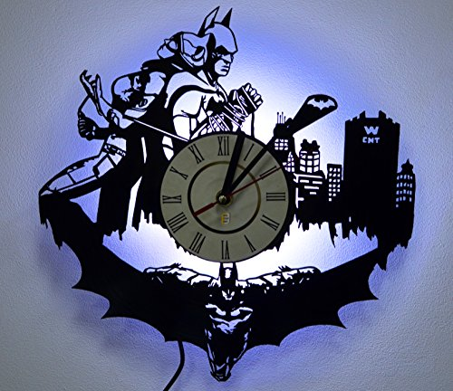 Batman Catwoman Kiss Design Lighting Vinyl Record Wall Clock, Night Light Function, Original Home Interior Decor, Perfect Gift Idea for Men and Women