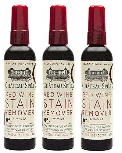Chateau Spill Red Wine Remover - 4 oz/120 ml Spray Bottle   Wine Stain Remover for Clothes   Fabric Stain Remover   Carpet Stain Remover   Gets The Red Out   Great Wine Accessories - 3 Pack