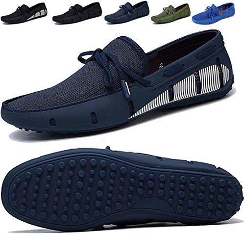 Go Tour Herren Driving Loafer Fashion Slipper Casual Slip auf Loafers Bootsschuhe für Strand, Pool, Stadt und Rundherum Komfort Navy mit weißem Druck