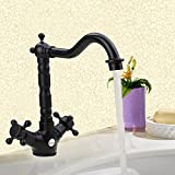 Farmhouse Bathroom Sink Fuloon Farmhouse Victorian Kitchen Sink Chrome Kitchen Faucet Sink Tap Dual-Lever Swivel Spout Rotating NozzleClassic Sink Mixer (Black)