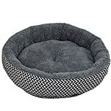 Soft Dog Bed - Hot Sale 2 Colors Round Soft Dog House Bed Striped Pet Cat And Dog Bed Grey /Red-Blue Size S M Pet Products
