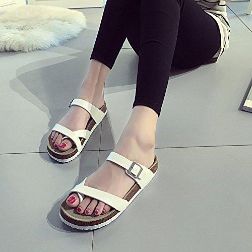 on Couple Flat Womens unisex 023 Slip Summer Sandals White Buckle Beach with Unisex Thong Flipflops Mens fereshte pYq5TwW