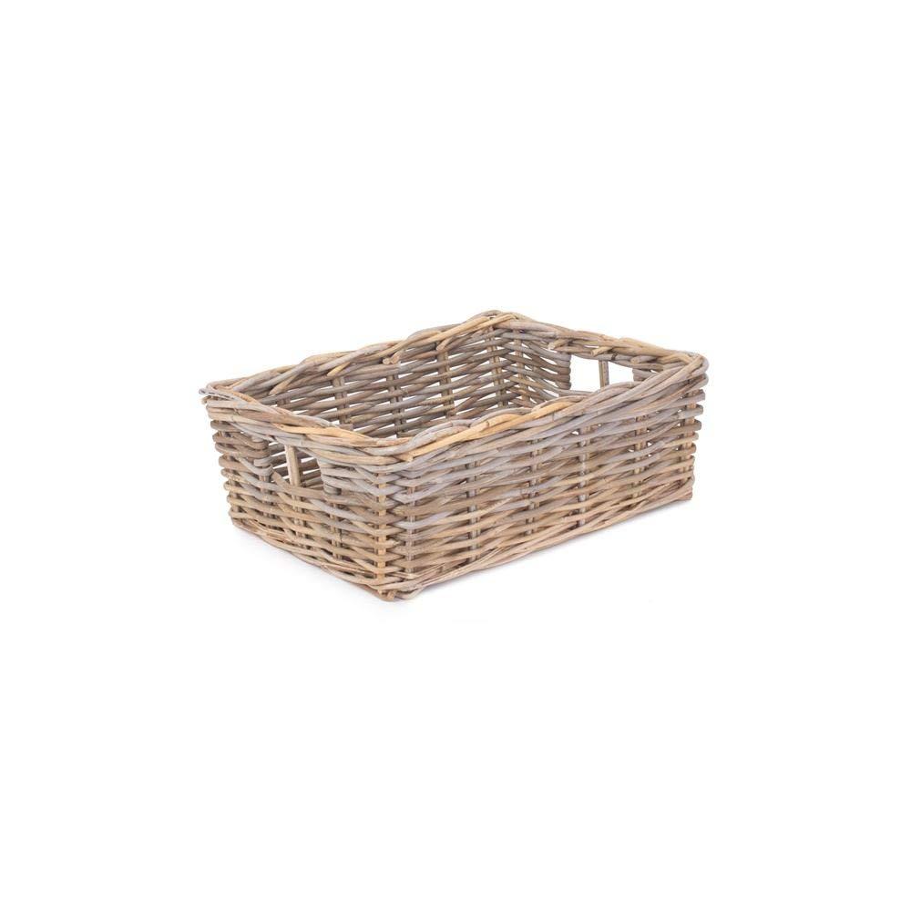 Small Shallow Kubu Grey Rattan Rectangular Basket