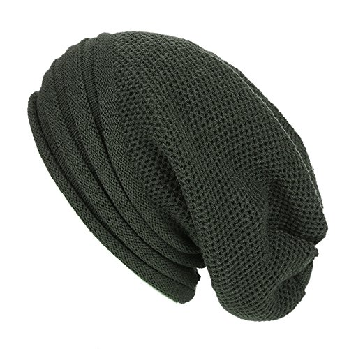 LEXUPA Men Women Baggy Warm Crochet Winter Wool Knit Ski Beanie Skull Slouchy Caps Hat(One Size,ArmyGreen)