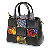 Show Story Black Bear Contrast-Stitching Top-handle Slouchy Hobo Shoulder Bag Tote Bag