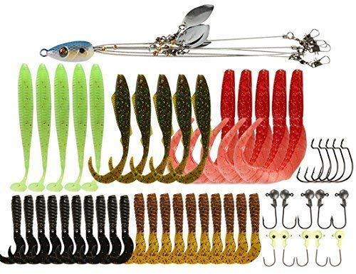 5 Arms Alabama Umbrella Rig Fishing Ultralight Tripod Bass Lures Bait Kit Junior Ultralight Willow Blade Multi-Lure Rig (bluekit)