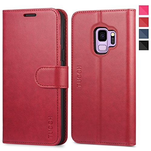 - Galaxy S9 Case, TUCCH Samsung S9 Wallet Case, Premium PU Leather Flip Folio Case with Card Slot, Stand Holder and Magnetic Closure [TPU Shockproof Interior Protective Case] for Galaxy S9, Red