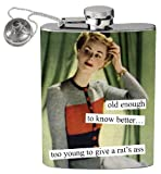 Anne Taintor Too Young to Give a Rat's Ass Stainless Steel Hip Flask With Funnel